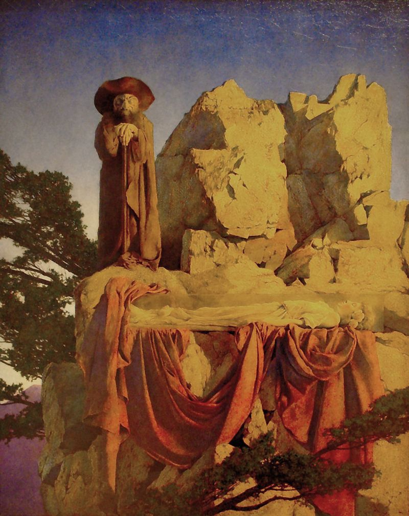 Snow White in her glass coffin by Maxfield Parrish