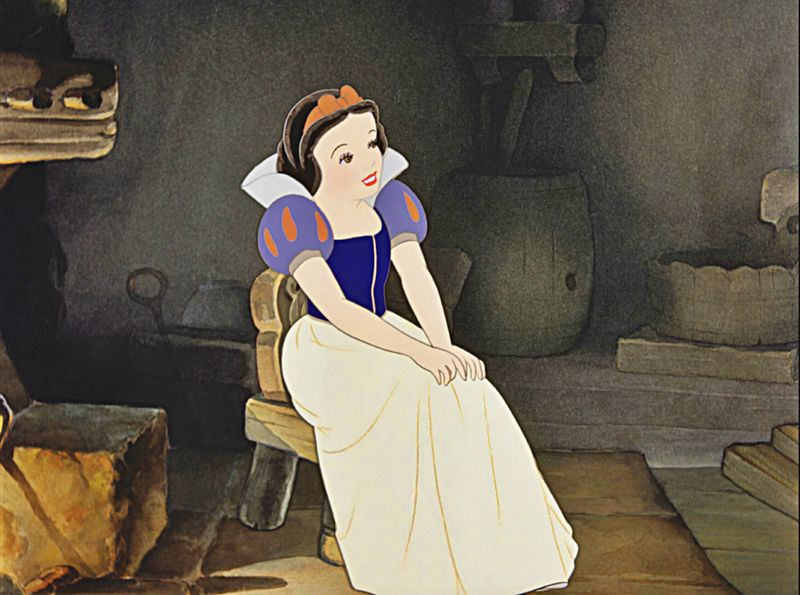 Snow White keeping house for the dwarves