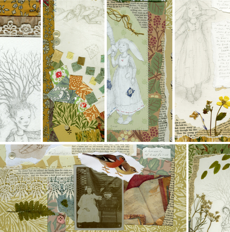 Details from the six collages by T Windling