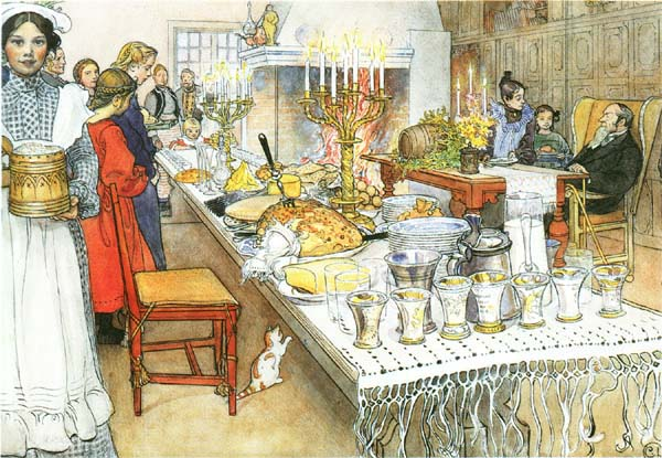 Christmas Evening by Carl Larrson