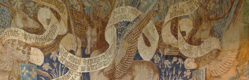 Winged deer tapestry