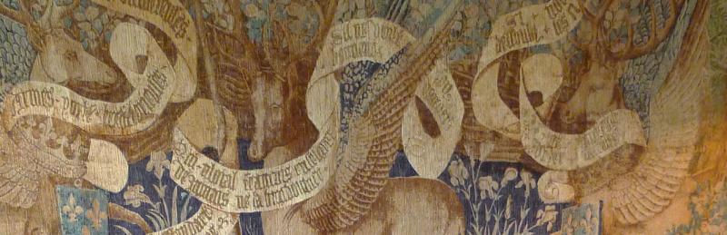 Winged deer tapestry