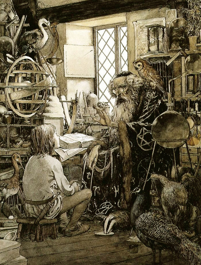 Young Arthur and Merlin by Alan Lee
