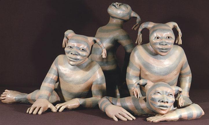 Sacred Clowns by Native American ceramic artist Roxzanne Swentzell