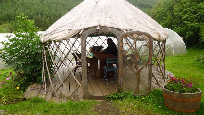 Howard in the yurt cafe  Corrary Farm