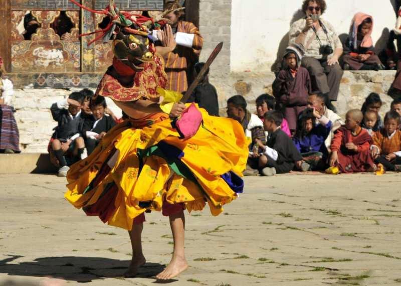 Deer dancer at the Crane Festival in Bhutan 2