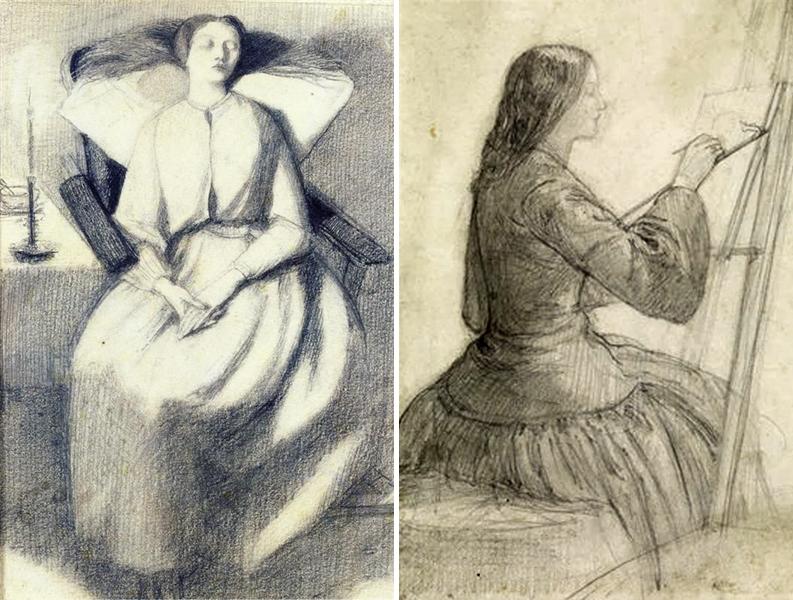 Drawings of Elizabeth Siddal by Dante Gabriel Rossetti