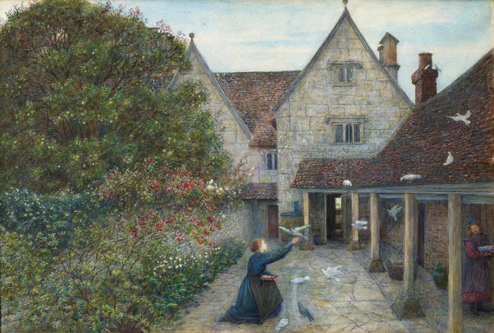 Feeding Doves in the Kitchen Garden of Kelmscott Manor by Maria Spartali Stillman
