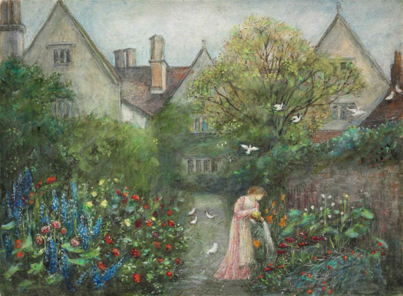 The Garden at Kelscott Manor by Maria Spartali Stillman
