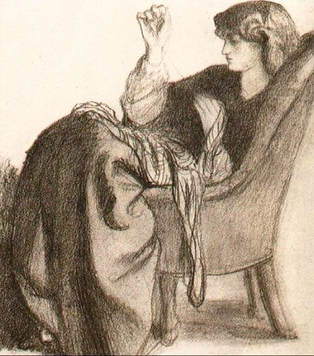 A sketch of Jane Morris embroidering by Dante Gabriel Rossetti