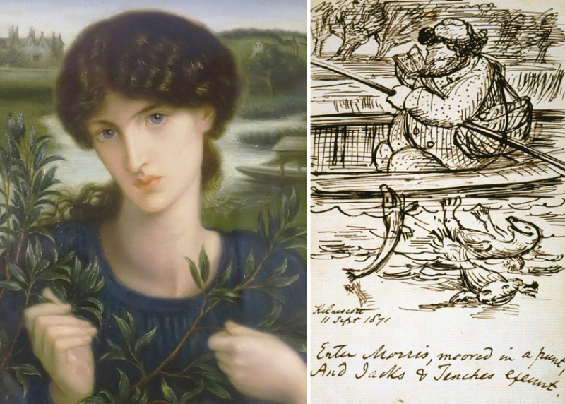''Water Willow'' by Rossetti  and his cartoon of Morris' return to Kelmscott