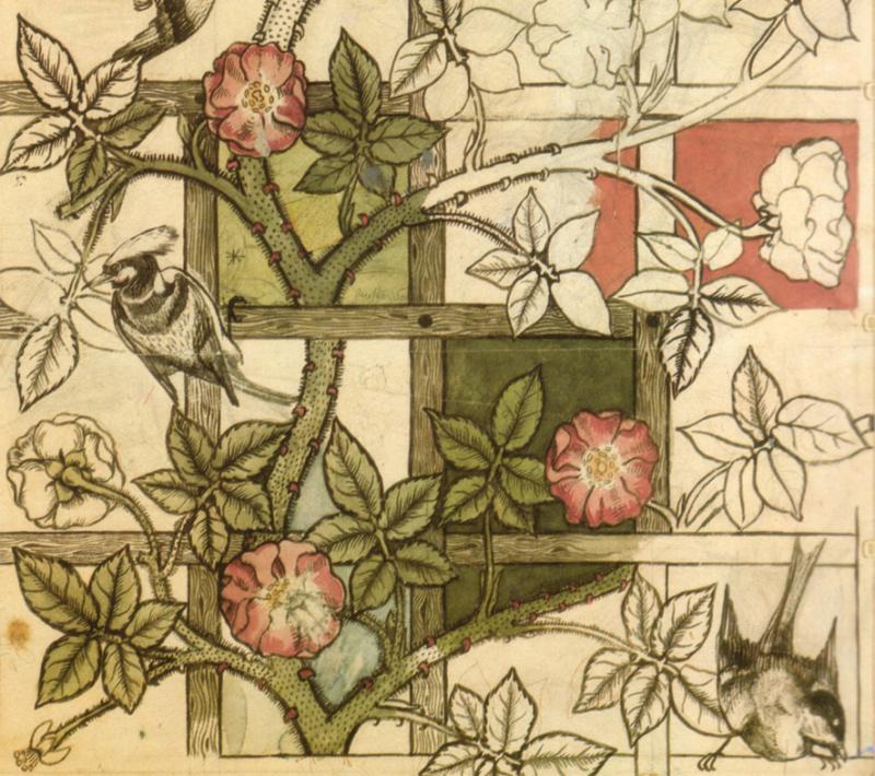 William Morris' ''Bird and Trellis'' design in progress