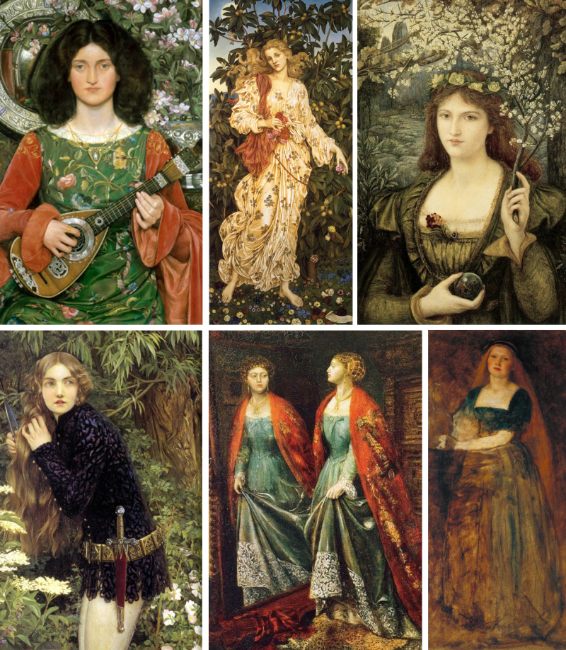 Pre-Raphaelite paintings by Kate Bunce  Evelyn de Morgan  Maria Spartali Stillman  Eleanor Fortescue Brickdale  Emma Sandys  Joanna Mary Boyce