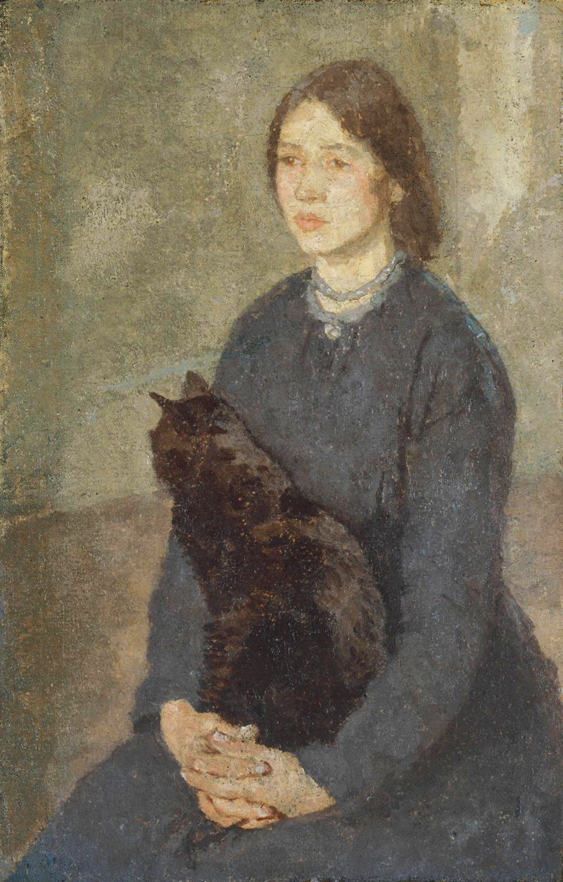 Girl Holding Cat by Gwen John