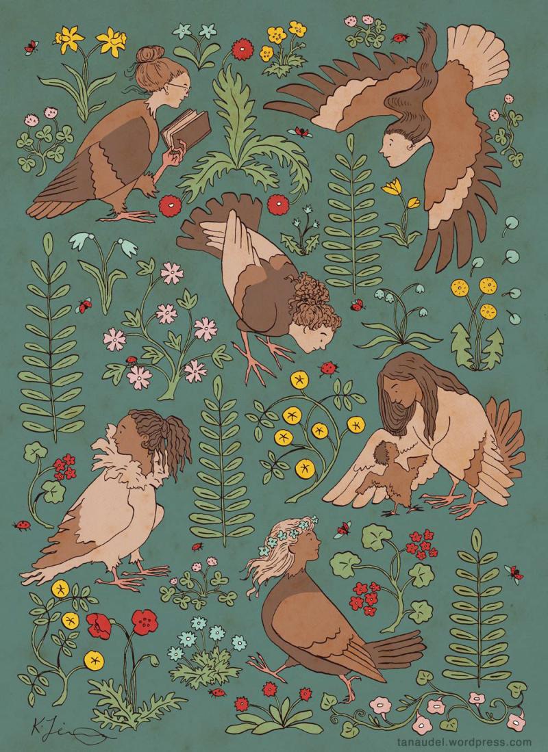 Harpies (calendar art) by Kathleen Jennings