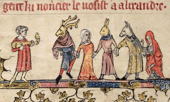 Dancers in a medieval manuscript