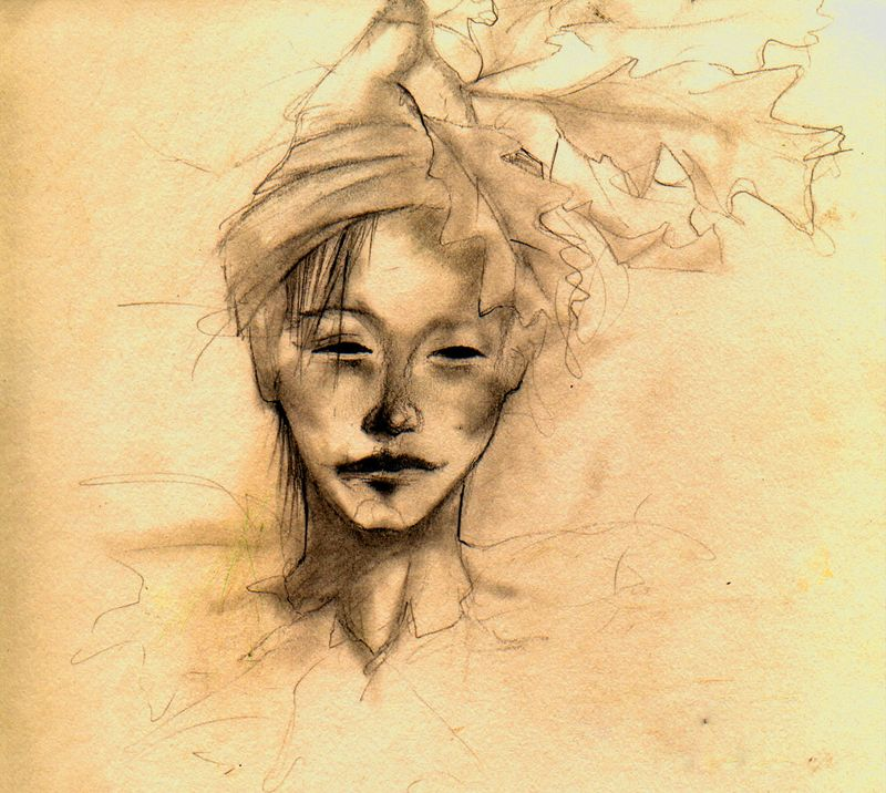 Tree fairy sketch by Terri Windling