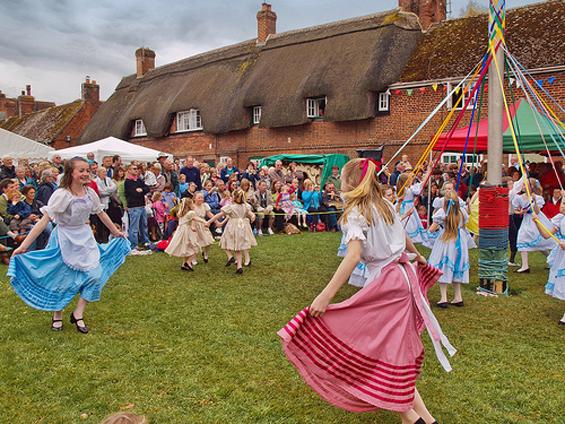 Maypole Dancers in Wiltshire, 2010