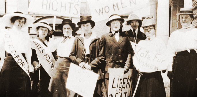 Suffragettes campaigning for Votes for Women