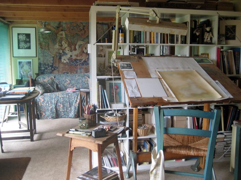 Painting side of studio, looking toward writing side