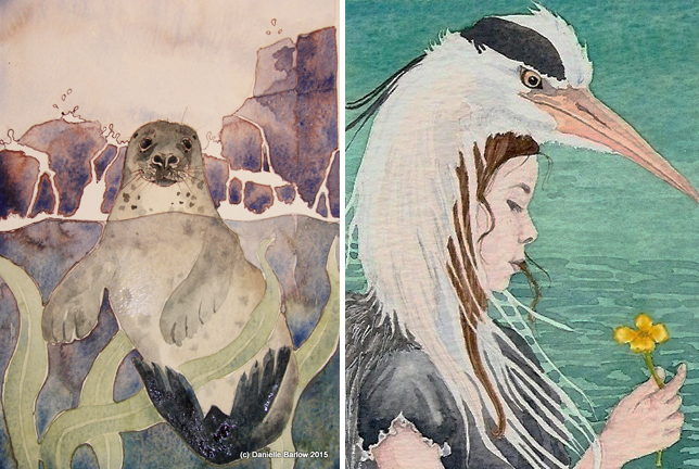 Otter and Heron Girl by Danielle Barlow