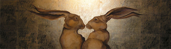 Two hares by Jackie Morris