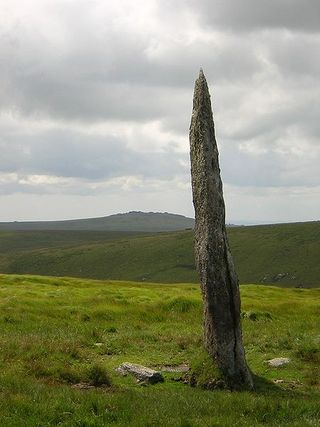 Beardown Man, a prehistoric menhir on Dartmoor, photograph by Jon Constant