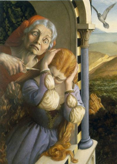 The witch cuts Rapunzel's hair by Paul O. Zelinsky