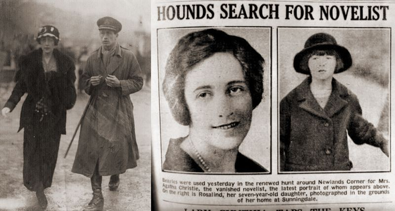 Agatha with her first husband, Archie Christie, and newspaper coverage of her disappearance
