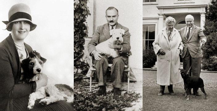 Agatha Christie, Max Mallowan, and their dogs