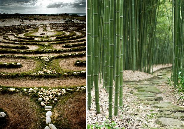 Hawaian prayer maze and Japanese bamboo labyrinth