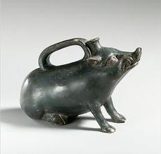 Greek terracotta askos in the form of a boar, circa 4th c. BCE