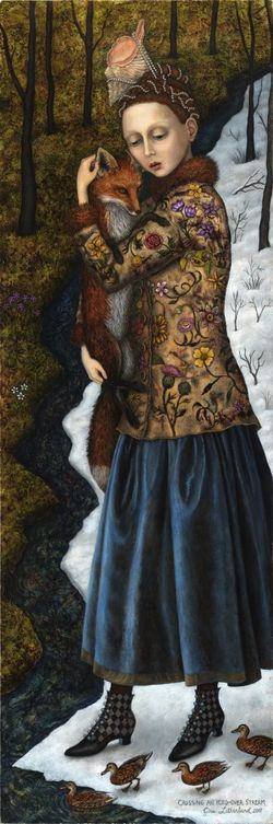 Crossing an Iced-Over Stream by Gina Litherland