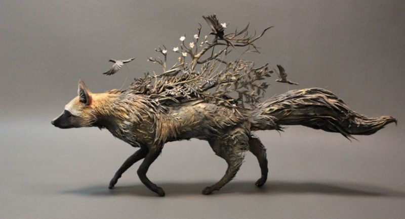 Fox With Crows by Ellen Jewett