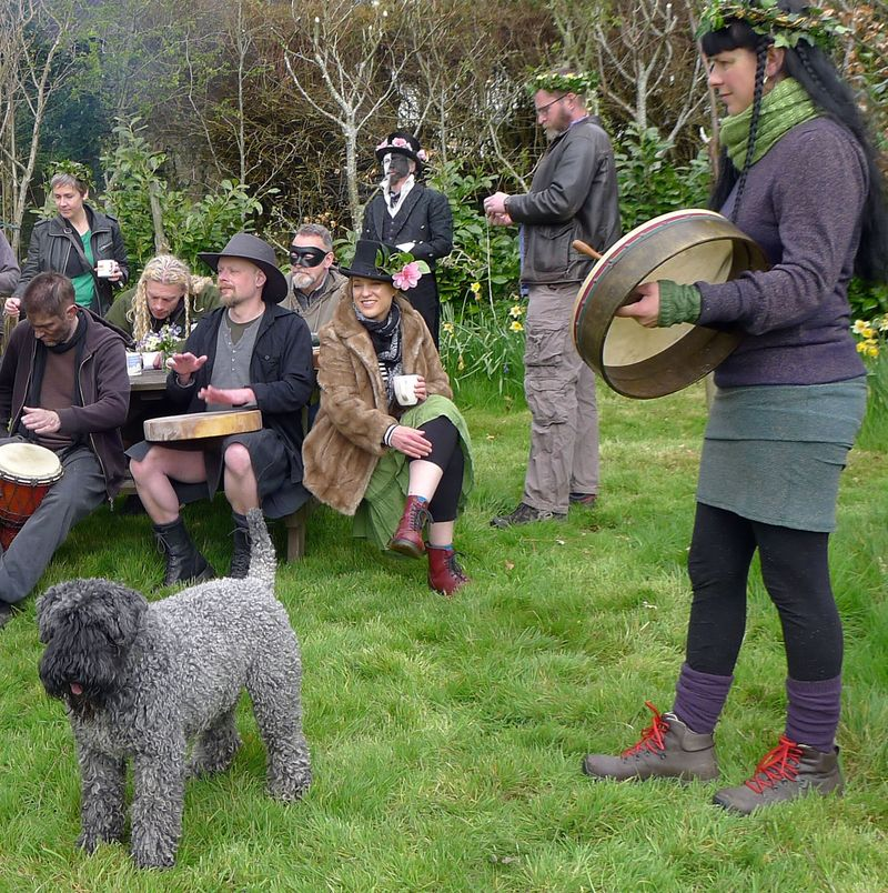Beltane revellers, human and canine