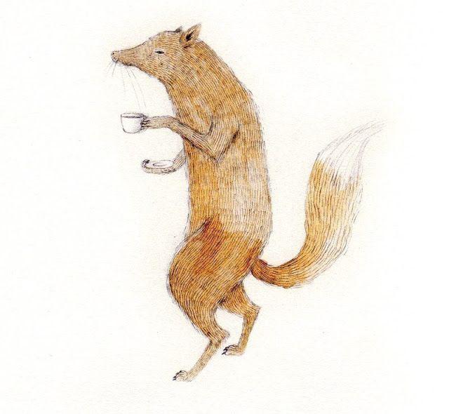 Fox with tea by Julianna Swaney