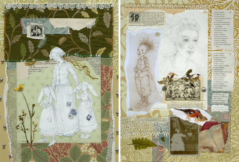 Two of my hand-stitched collages