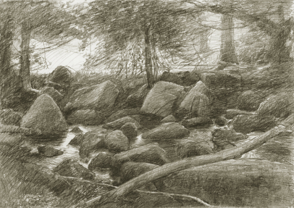 Devon river drawing by Alan Lee