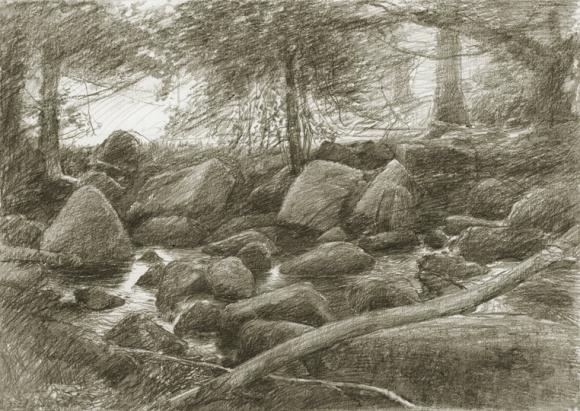 Devon river drawing by Alan Lee