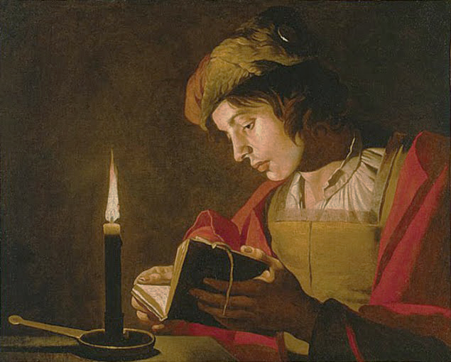 Young Man Reading by Candlelight by Matthias Stom (Dutch, 17th century)