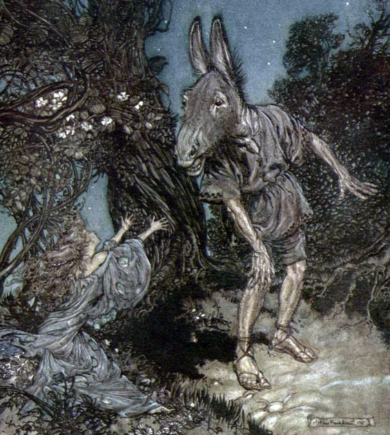 Titania Reaching for Bottom (A Midsummer Night's Dream) by Arthur Rackham