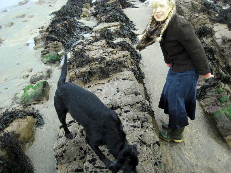 Tilly & me, beachcombing