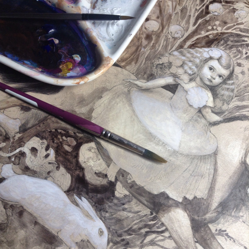 Painting in progress by Kristin Kwan