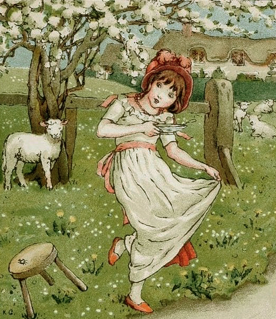 Little Miss Muffet and Her Sheep by Kate Greenaway