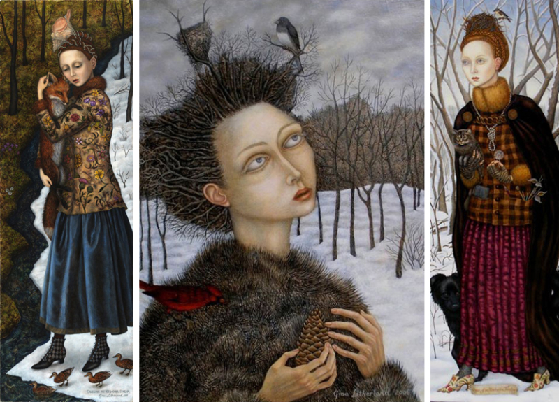 Three paintings by Gina Litherland