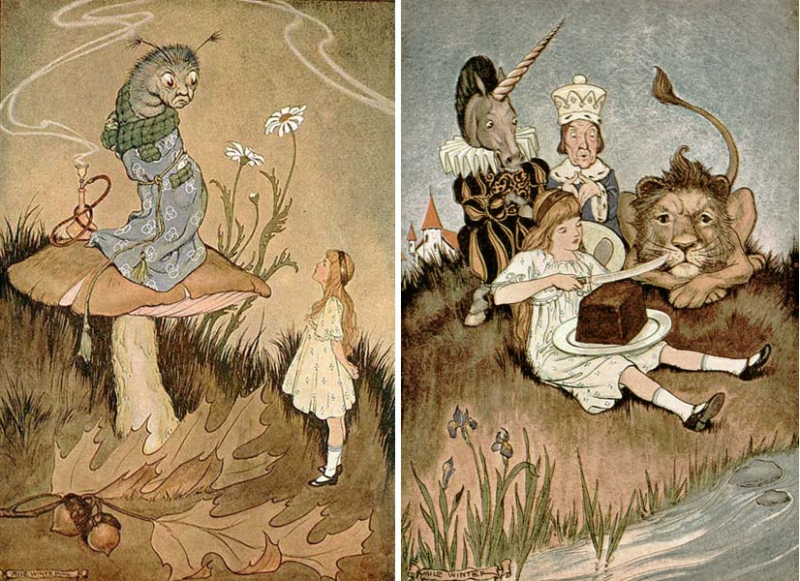 Two illustrations for Alice in Wonderland by Milo Winter