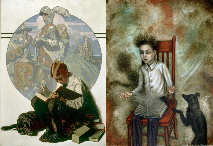 Boy Reading by Normal Rocwell and The Book by Gina Litherland