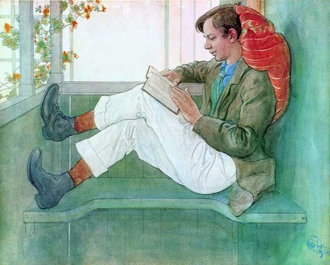 Carl Larrson's painting of his son reading