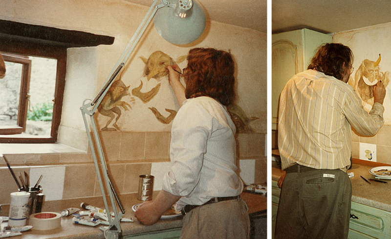 Brian Froud & Alan Lee, painting goblins in Weaver's kitchen