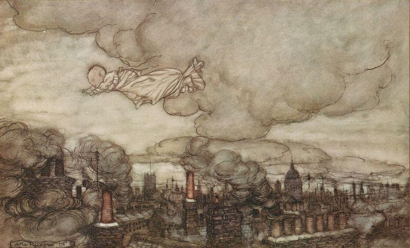Baby Peter Flies Over London by Arthur Rackham